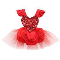 born Baby Girl Red Sequins Love Heart Romper Lace Jumpsuit Outfits Sun suit