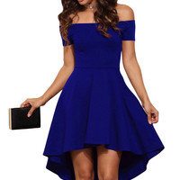 Blue Shoulder Off All The Rage Fit and Flare Skater Dress