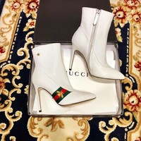 Gucci Leather Web Ankle Boot #1513