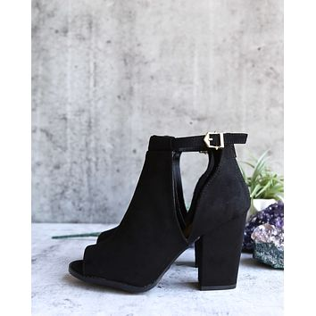 Vegan Suede Chunky Heeled Peep Toe Heels in Black
