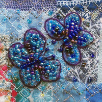 Beaded butterflies card - blue butterflies on blue patchwork - square card - fabric art card  - wedding or anniversary gift card