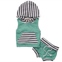 Newborn Baby Boy Girls Clothes Set Toddler Summer Casual Hooded Striped T-shirt Tops+Shorts Outfits 0-4Y
