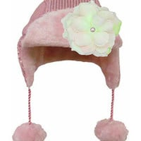 Jamie Rae Hats Pale Pink Sequin Flower Beanie   Something special every day
