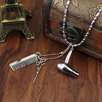 Cosmetologist Hair Dresser Silver Necklace