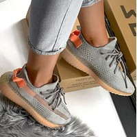 YEEZY 350 V2 ADIDAS Stylish Men Women Casual Breathable Sport Running Shoes Sneakers Grey&Orange