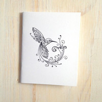 Medium Notebook: Hummingbird, Bird, Black, White, Wedding, Favor, Journal, Blank, Unlined, Unique, Gift, Notebook, For Her, For Him, WH96