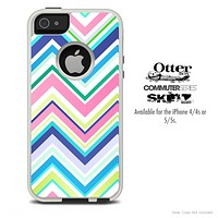 The Fun Colored Sharp Chevron Pattern Skin For The iPhone 4-4s or 5-5s Otterbox Commuter Case