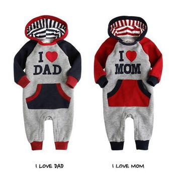 Lovely I Love Mam Dad Baby Kids Girls Boys Children Jumpsuit Outfits Set Hoodies = 1932527172