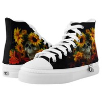 Skull and flowers Laceup hightop shoes. High-Top Sneakers