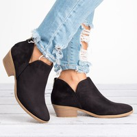 Side Cutout Black Booties