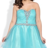 Plus Size Strapless Short Homecoming Dress with Stone Neckline