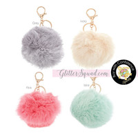 Soft and Fluffy Faux Rabbits Fur Keychain / Fur Ball Keychain / Mint Furry ball / Pink  / Ivory / Grey Furry Ball /