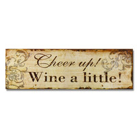"""Furnistar Decorative Wood Wall Hanging Sign Plaque """"Cheer up Wine a Little"""""""