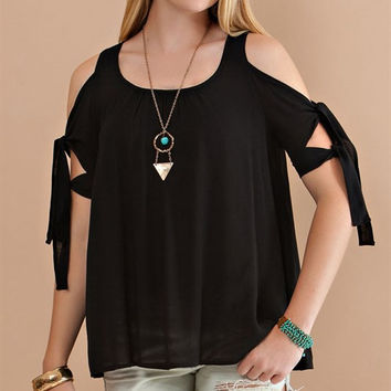 Cold shoulder blouse with tie-up sleeves