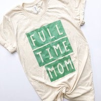 FULL TIME MOM Tee - Cream w/ Mint Jewel Glitter