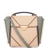 Pink and Grey Patent Panel Satchel