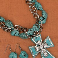 Turquoise Cross & Crystals Jewelry Set PN0514