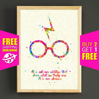 Harry Potter Watercolor Art Print Movie Quote Poster Gifts Idea Home Wall Decor Gift Linen Print - FERE SHIPPING - 426s2g