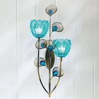 Peacock Feather Plumes Turquoise Blue Candle Holder Wall Sconce