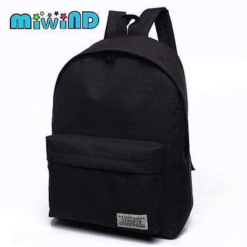 Solid Color Canvas back Pack With Multiple Storage Pockets