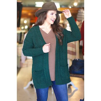 {Forest Green} Chunky Knit Cardigan
