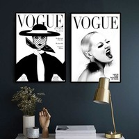 Nordic Poster Modern Fashion 4 piece canvas art wall Portrait home decor VOGUE 1950 magazine cover new hot sell sunrise cuadros