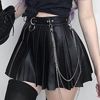 Goth Dark Grunge Punk Summer Gothic Skirts For Women Streetwear Zippper Rivet Pleated Black Metal Ring Skirt PU Sexy Hollow Out