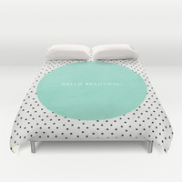 MINT HELLO BEAUTIFUL - POLKA DOTS Duvet Cover by Allyson Johnson