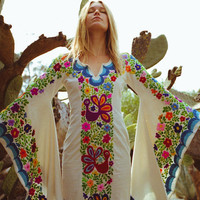 Wedding Dress Bohemian w/Mexican Embroidery