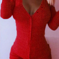 Burgundy V-neck Buttoned Front Cable Knit Bodysuit