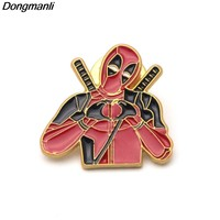 Deadpool Dead pool Taco P2306 Dongmanli New 2018  2 brooches Gold Enamel Color Pin for Backpack/Bag/Jeans Clothes Badge lapel pin Jewelry AT_70_6