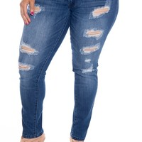 Rip Ahead Plus Size Shredded Jeans - D Blue