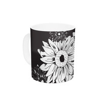 "Laura Escalante ""Midnight Florals"" Black Sunflower Ceramic Coffee Mug"