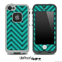 Sketchy Chevron Pattern Black and Trendy Green Skin for the iPhone 5 or 4/4s LifeProof Case