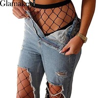 Glamaker Sexy mesh fishnet hosiery Spring black stocking tights Slim party club pantyhose women
