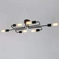 Black Vintage Barn Metal Semi Flush Mount Ceiling Lighting with 6 lights