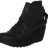 Fly london Yama Black Leather New Womens Wedge Shoes Boots