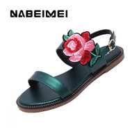 Ethnic embroider sandals women shoes 2017 new arrival solid rear strap flats summer shoes plus size 34-42 ladies shoes