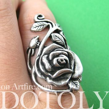 Classic Rose Shaped Floral Vines Wrap Around Ring in Silver | DOTOLY