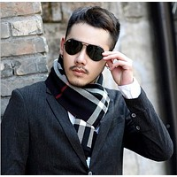 Winter men scarf business plaid neck wraps luxury male scarves thicker warm wool blend patchwork scarf casual new cashmere scarf
