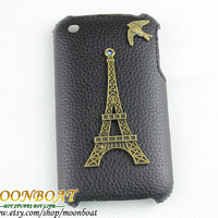 Brass Eiffel Tower, Cute Birdie And Black Hard Case Cover For Apple iPhone 3 Case, iPhone 3gs Case, iPhone 3 Hard Case, iPhone Case MB3G-663