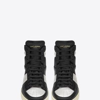 Saint Laurent Signature Court Classic SL/10H High Top Sneaker In Black Leather And Silver Metallic Leather | ysl.com
