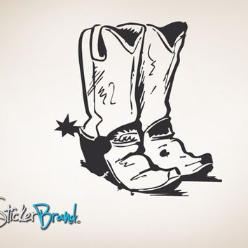Vinyl Wall Decal Sticker Cowboy Boots #784