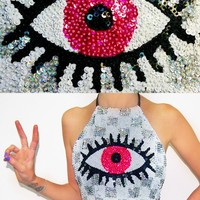 LIMITED RUN PINK EYE HALTER WITH IRIDESCENT CHECK