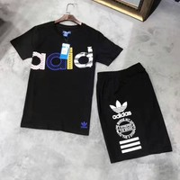ADIDAS Casual Print Short Sleeve Shirt Top Tee Blouse Two Peice G-A-GHSY