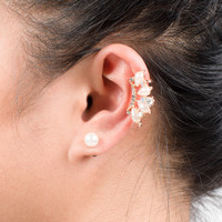 Pearly Pink Crystal Ear Cuff