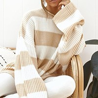 Casual Oversized Striped Sweater Women Long Sleeve Loose Pullover Knitted Ladies Jumper White Top