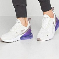 Nike Air Max 270 Fashionable Women Leisure Sport Running Shoes Sneakers White&Grey&Purple