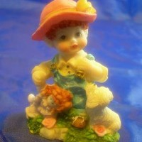 Cute Child Figurine Child Holding Doll With Her Dog Free Shipping