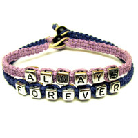 Forever and Always Couples Bracelet Set, Jewelry for Couples, Light Purple and Dark Blue Macrame Hemp, Valentines Day Gift
